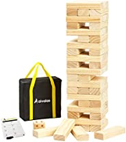 Aivalas 56 PCS Giant Tumble Tower, Wooden Stacking Block Game with Scoreboard&Carrying Bag, Classic Outdoo