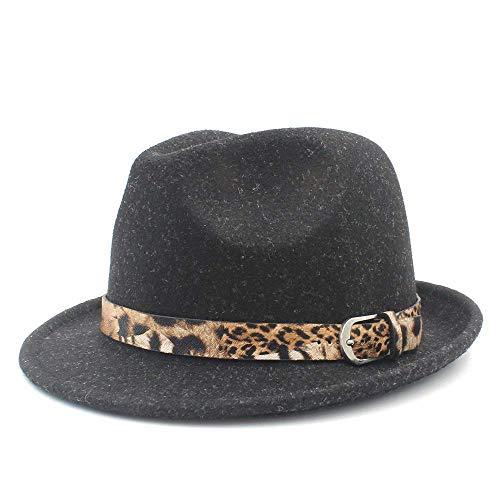 (Junson Lovely Felt Homburg Jazz Fedora Hat for Elegant Lady Cashmere Trilby Fedora Jazz Hat with Leopard Belt for)