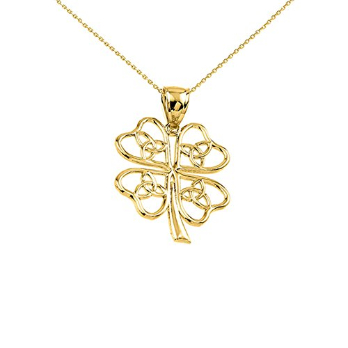 10k Yellow Gold Open Design Trinity Knot Lucky Four-Leaf Clover Charm Pendant Necklace, 20