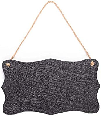 Vintage Shape Rustic Slate Chalkboard with Twine Rope for Outdoor, Garden and Wall Décor, 8.25