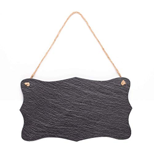 (Vintage Shape Rustic Slate Chalkboard with Twine Rope for Outdoor, Garden and Wall Décor, 8.25