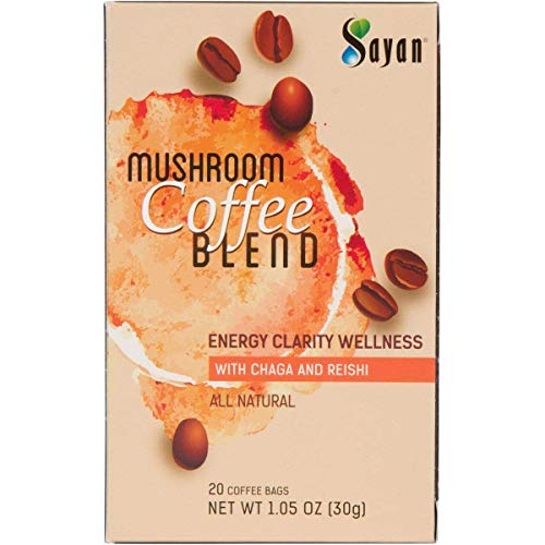 Sayan Mushroom Instant Coffee Blend 20 Packets (0.09oz/2.5g each) 100% Organic Arabica Colombian | Organic Reishi & Chaga Extract | Powerful Immune Support Antioxidant Drink | Concentration & -