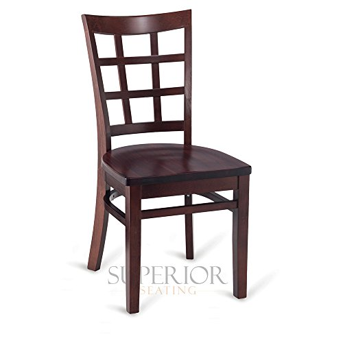 Dark Mahogany Wood Lattice-Back Restaurant Chair with Solid Beechwood Seat
