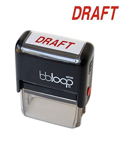 """BBloop Stamp """"DRAFT"""" Self-inking. Rectangular. Laser Engraved. RED"""