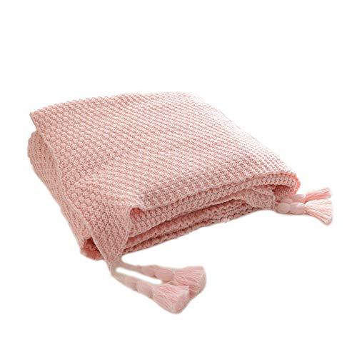 HugeHug Cotton Knitted Throw Blanket with Handmade Tassels Pompoms Super Soft for Couch Sofa Bed Cover Quilt Baby Nursery Stroller Blanket 100% Organic Cotton 50