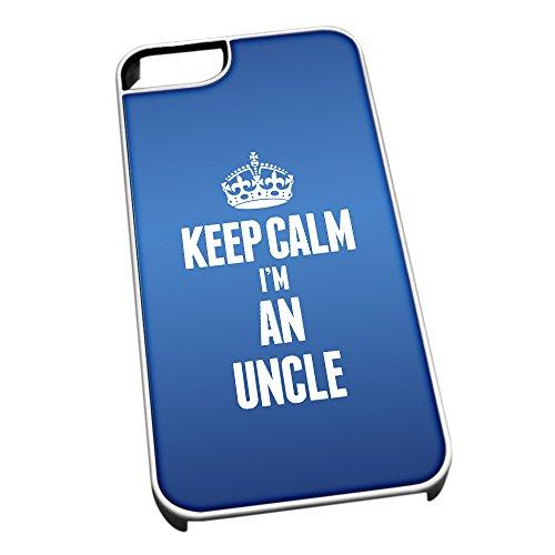 Bianco per iPhone 5/5S 2702Blu Keep Calm I m un Uncle