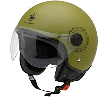 Rodeo Drive - Casco de moto RD104plus, verde militar, talla XS