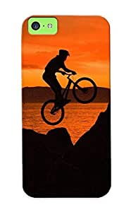 Chapiterq GvMKhfa614zqbOs Case Cover Iphone 5c Protective Case Bike Freestyle At Sunset