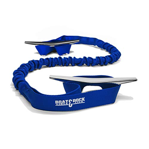 Boat Dock Lines - Hook & Cord Boat Dock Tie Bungee, Made in USA, 36 inch 2 Loop Pack of 2, 30 inch Long (Blue, 36 inch)