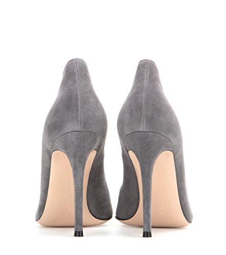 Soiree Hauts Aiguille Talons Fete Grande Edefs Taille Gris Escarpins À Pointu Vernis Cuir Femme Bout Chaussures Pu 0qOpOFYw