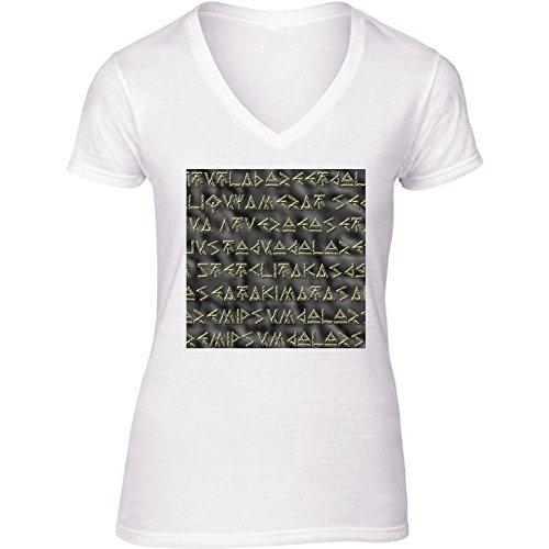 Camiseta Blanca Con V-Cuello para Mujer - Tamaño XL - Texto Vikingo by hera56