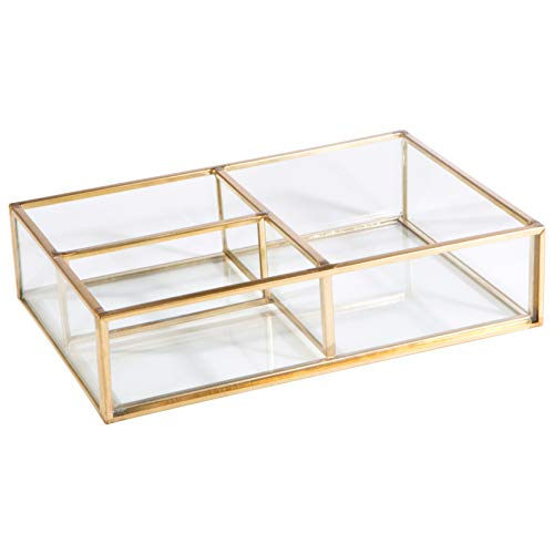 Home Details Vintage Mirrored Bottom Glass Keepsake Box Jewelry Organizer, Decorative Accent, Vanity, Wedding Bridal Party Gift, 3 Compartment Gold