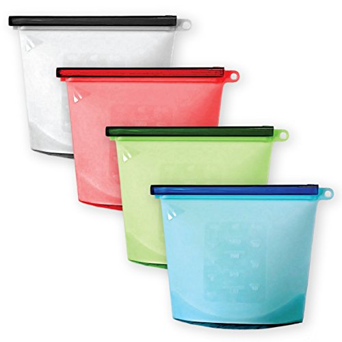 Rosemera 1 Silicone Reusable Storage Bags | Preservation of Fruits, Vegetables, Meats| Airtight Seal, Leak-Proof, Keeps Food Fresh| Freeze, Steam, Boil, Mic, 4 Pack, 4 pcs