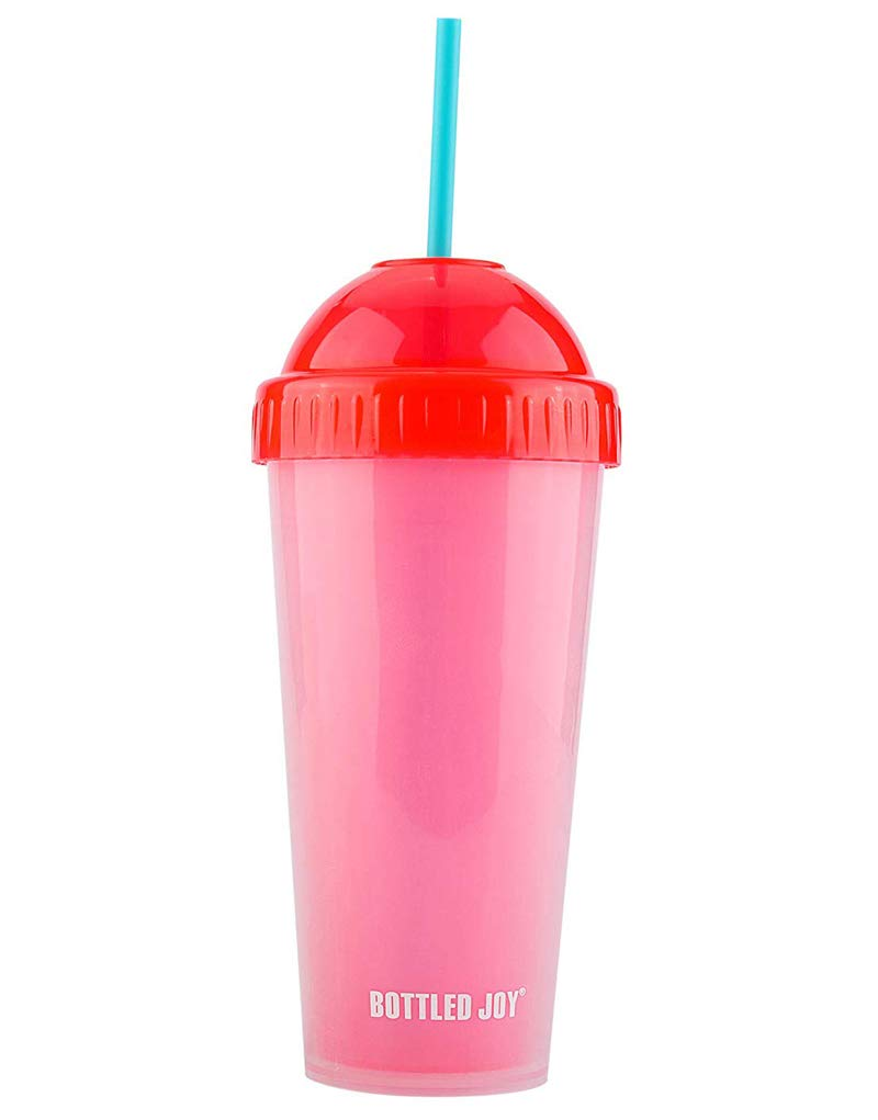 Straw Bottle, BOTTLED JOY Double Layers Insulated 480ml Fruit Juice Plastic Tumbler Cola Drinking Cup with Straw Pefect for Serving Cold Beverage at Party(Blue)