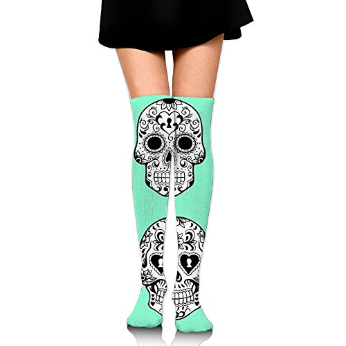 Sugar Skull Skeleton Funng Knee High Socks For Women Fishing Casual Thigh High Compression Socks