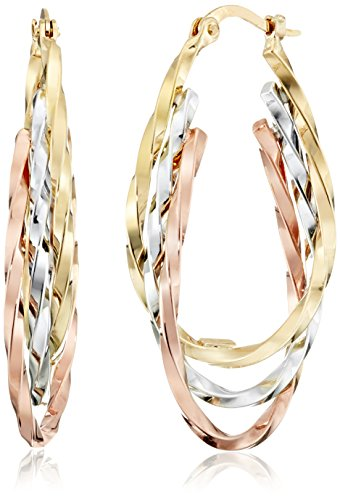 14k Gold Tri-Color Triple Hoop Earrings (1'' Diameter) by Amazon Collection