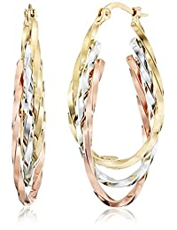 "Duragold 14k Tri-Color Triple Oval Hoop Earrings, (1"" Diameter)"