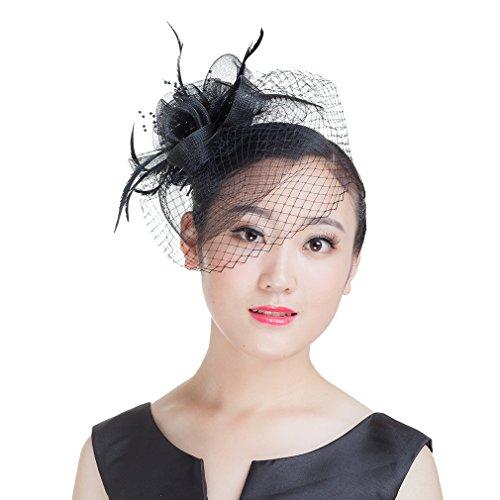 La Vogue Women Flower Mesh Fascinators With Birdcage Veil Hair Accessory