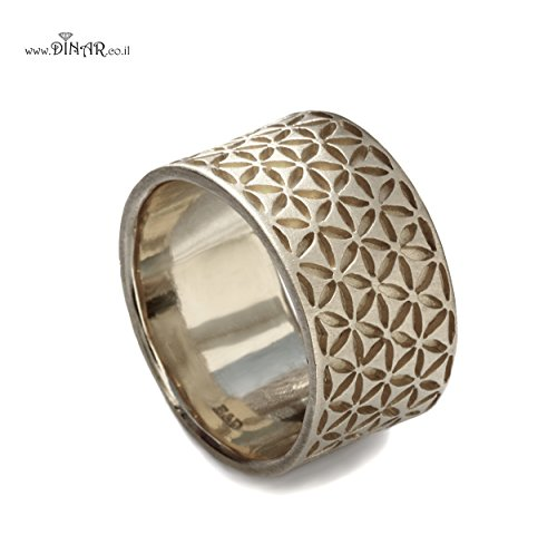 Wide Silver band, silver Wedding band, men's wedding band, flower of life, floral motif, silver ring , handcrafted, recycled silver, patterned silver - Band Recycled Wedding Silver