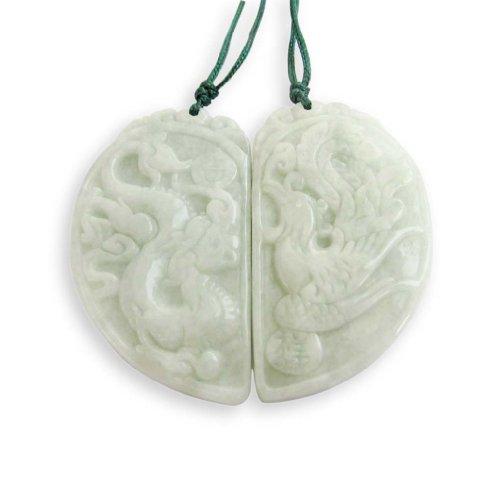 OVALBUY Jadeite Jade Dragon Phoenix Love Pair Amulet Pendant