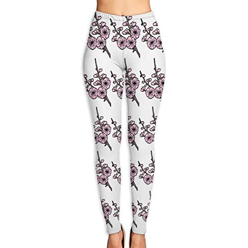 Cherry Blossom Clipart-1 Power Stretch Yoga & Running Pants High Rise Waist Light Fabrics Performance Spandex Compression Leggings for Women