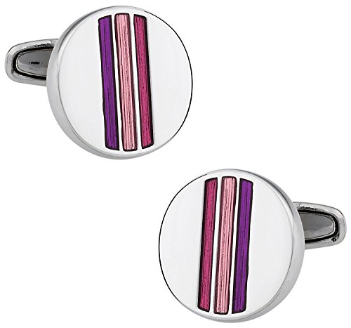 (Cuff-Daddy Trendy Tonal Pink & Purple Enamel Round Silver Cufflinks with Presentation Box)