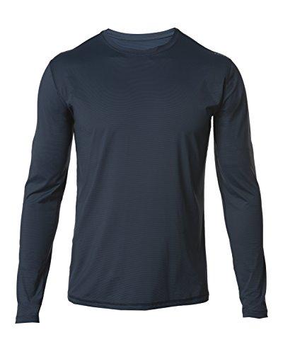 SODO A4 Long-Sleeve Microstripe Workout Shirt-Indigo Blue/Black-Large (Rhone Style Blend)