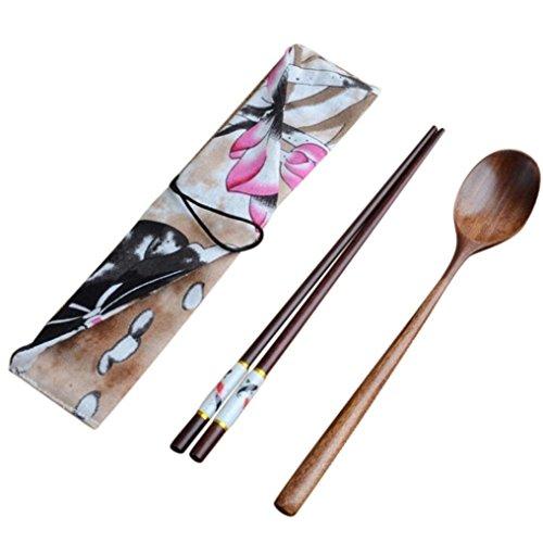 - 2PC Wooden Chopsticks And Spoon set Cutlery Longay Dinnerware Flatware Fork Spoon Teaspoon Food Utensi (A)