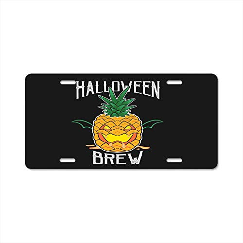 Seandsf Halloween Spooky Scary Pumpkin Pineapple Automotive License Plate Frame Cover Car Accessory Metal Tag -