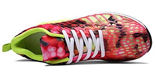 Avacostume Uomo Donna Unisex Casual Paio Sneaker Leggero Stile Atletico Rosa Rosso