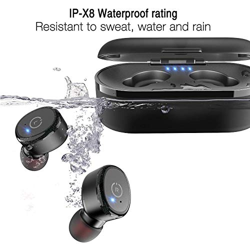 TOZO T10 Bluetooth 5.0 Wireless Earbuds with 【Wireless Charging Case】 IPX8 Waterproof TWS Stereo Headphones in-Ear Built-in Mic Headset Premium Sound with Deep Bass for Sport