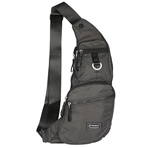 Vanlison Large Sling Bag Crossbody Shoulder Chest Back Pack Anti Theft Travel Bags Daypack Black