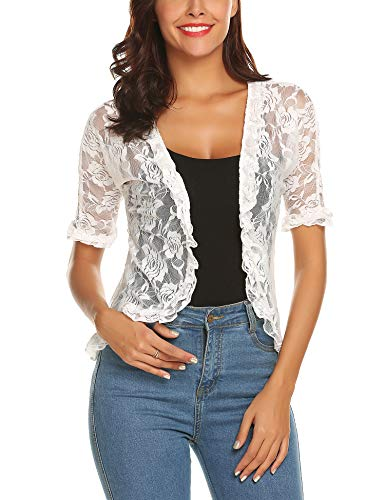 URRU Women's Ruffle Sleeve Open Front Cardigans Lace Crochet Loose Casual Cover Up White M -