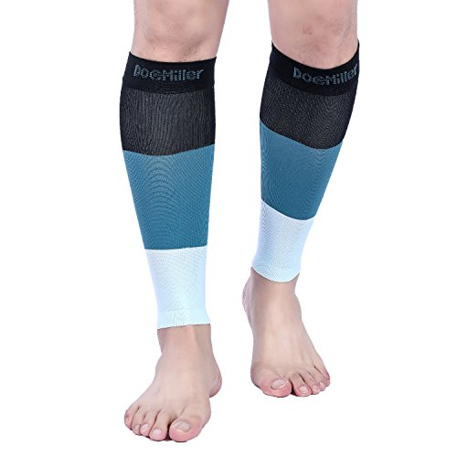 Doc Miller Premium Calf Compression Sleeve 1 Pair 15-20mmHg Strong Support Graduated Sock Pressure Sports Running Recovery Shin Splints Varicose Veins (BlackSpruceOpal