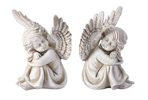 (Pair Sleeping Angel Cherubs Garden Statues )