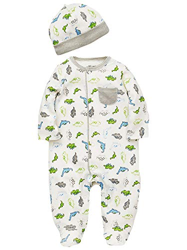 Little Me Tiny Dino Footie Pajamas Boys Footed Sleeper and Hat Off-White Newborn ()