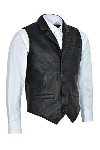 Chaleco los Real del Elegante Vintage afligido de 100 del Envejecido del Chaleco Cuero 1349 100 Hombres Negro xI8xSqC