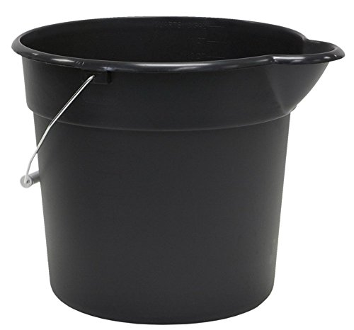 United Solutions PA0042 Black 3 Gallon (12 Quart) Plastic Utility Pail with Handle and Pouring (12 Quart Bucket)