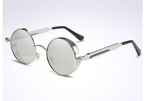 verde Sunglasses oro de las Steampunk TL mujer Ronda Gafas Vintage UV400 de silver gafas silver sol OxSdaqaw7