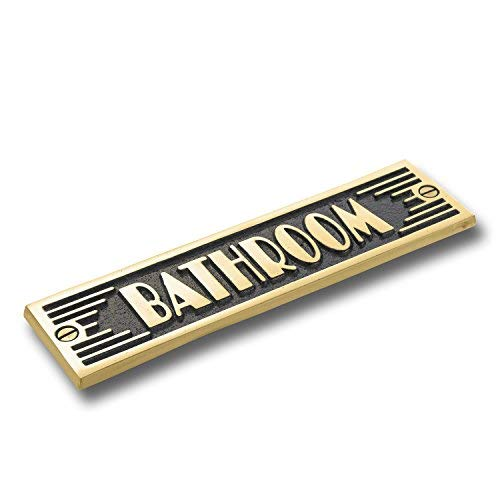 The Metal Foundry Bathroom Metal Door Sign. Art Deco Style Home Décor Accessories Door Or Wall Brass Plaque. Handmade in -