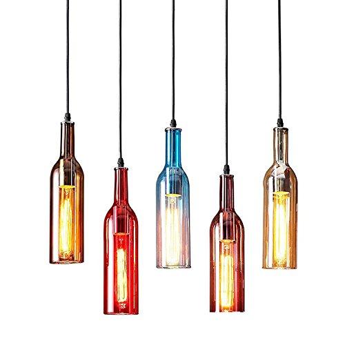Cafe Bar Style Retro Ceiling Light Pendant Glassl Shade, Modern Industrial Vintage Look,Winebottle Shape(Amber)