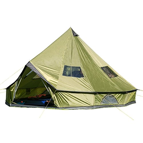 Hasika 4-Season 10 Persons Waterproof Large Family Tent Hunting Camp Tent, Huge Teepee Tents for Sale,Size 5M/16.4ft