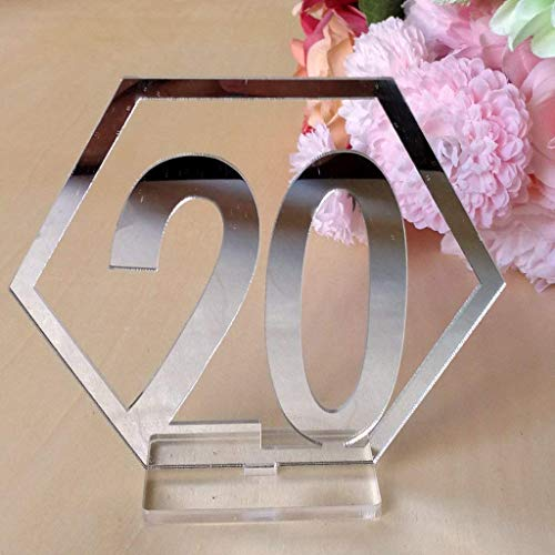 Velidy Table Numbers,1-20Wedding Acrylic Standing Table Numbers with Holder Base for Wedding, Party, Events or Catering Decoration (Silver)