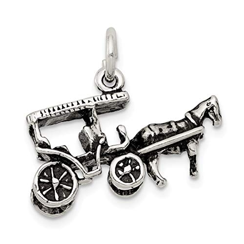 925 Sterling Silver Horse Carriage Pendant Charm Necklace Travel Transportation Fine Jewelry Gifts For Women For Her