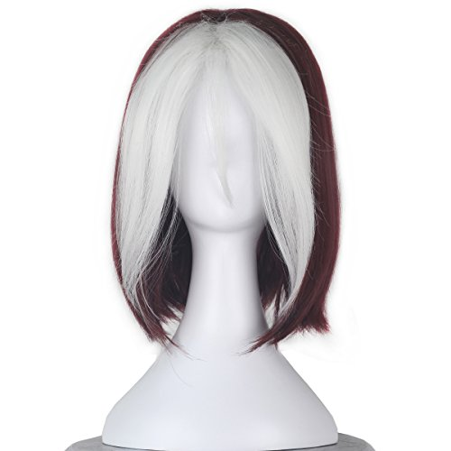 Women Short Wavy Burgundy Brown and White Strands Hair Cosplay Costume Wig -