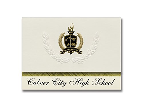 Signature Announcements Culver City High School (Culver City, CA) Graduation Announcements, Pack of 25 with Gold & Black Metallic Foil seal, 6.25