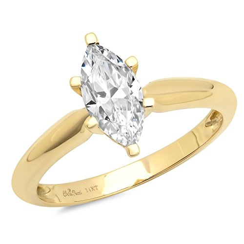 1.0 CT Marquise brilliant Cut Simulated Diamond CZ Solitaire Engagement Wedding Ring 14k Yellow Gold, Size 7 14k Yellow Gold Marquise Band