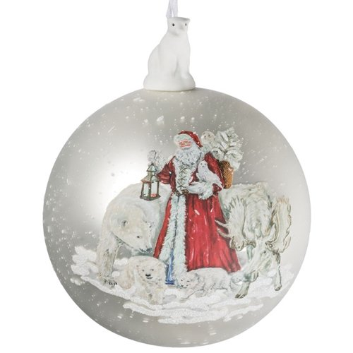 (Sullivans Santa and Polar Bears Mercury Glass Look 4 Inch Christmas Hanging Ball Ornament)