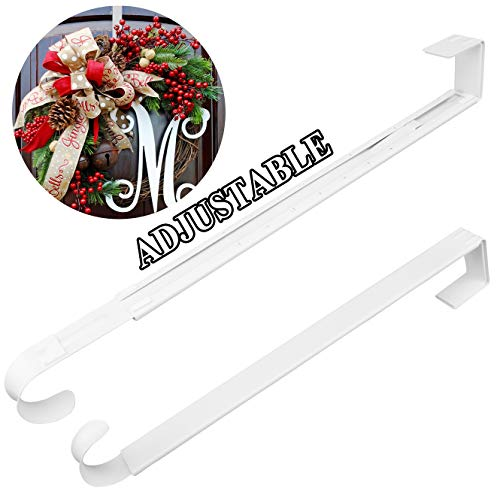 HEYHOUSE Wreath Hanger,Christmas Wreath Hanger for Front Door Adjustable from 14.9-25 Inches, Larger Door Wreath Hanger Festival Wreaths,White Decorations Hook
