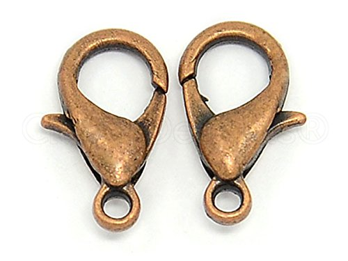 CleverDelights 100 Lobster Clasps - 12x6mm - Antique Copper Color - Jewelry Findings